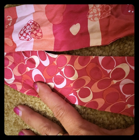 Coach Accessories - Coac pink thin silk pink heart scarf